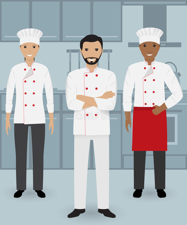 Chef and two cook in uniform standing together in three different poses on a kitchen background. vector illustration
