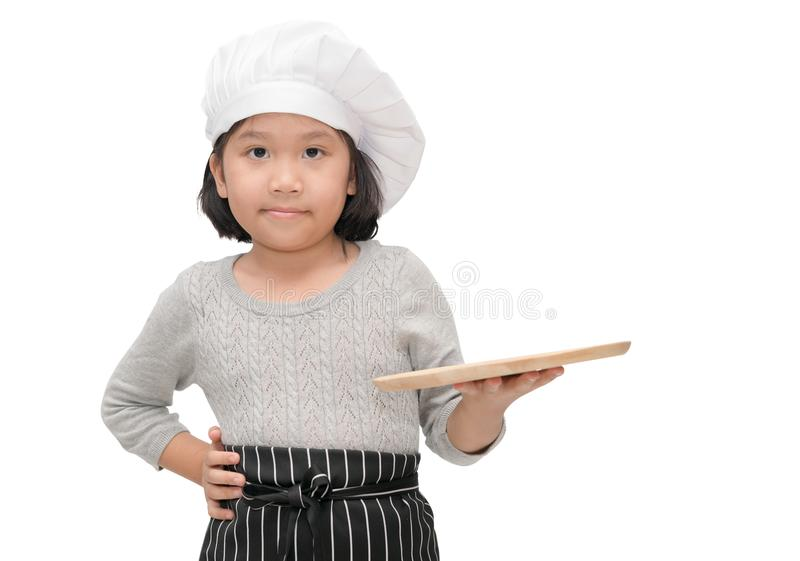 Chef in uniform cook holding blank wood dish royalty free stock photo