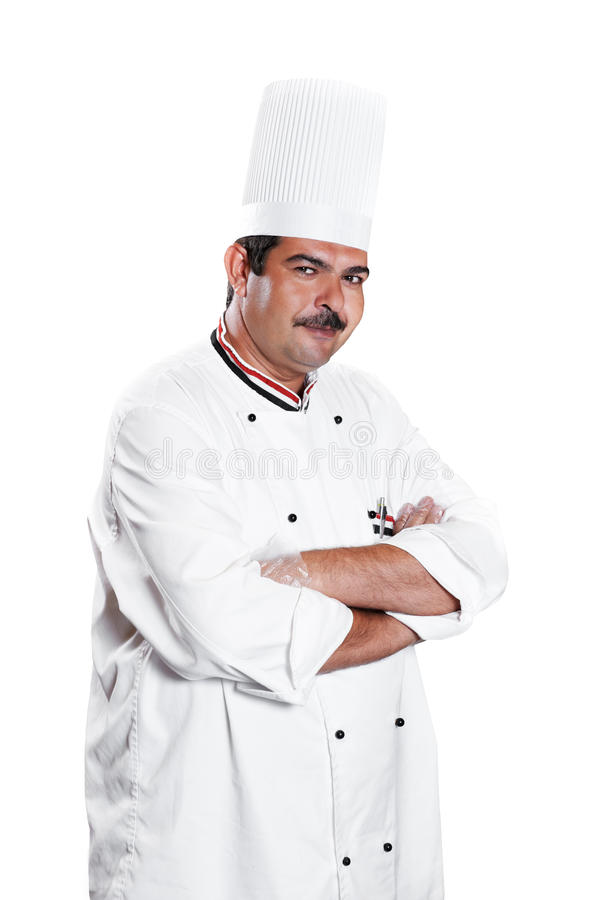 Chef in uniform at kitchen stock photography