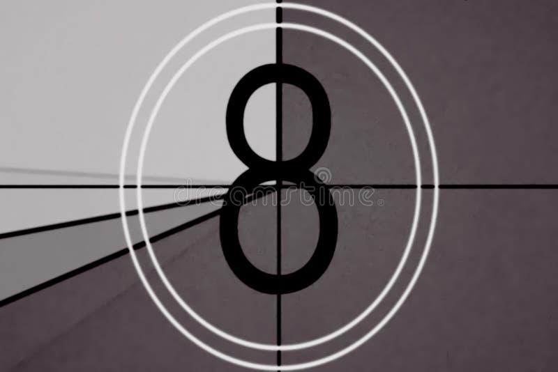 Chef universel de film, symbole comptant vers le bas de 8, avec l'écran de vert de clé de chroma à la finale image libre de droits