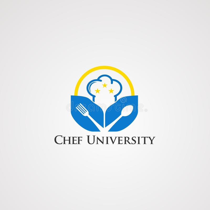 Chef university with little star and circle logo vector, icon, element, and template for company royalty free illustration