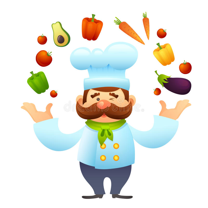 Chef With Vegetables illustration stock