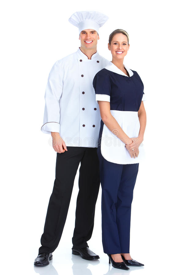 Chef and waitress. Smiling chef man and a waitress woman. Isolated over white background stock photos