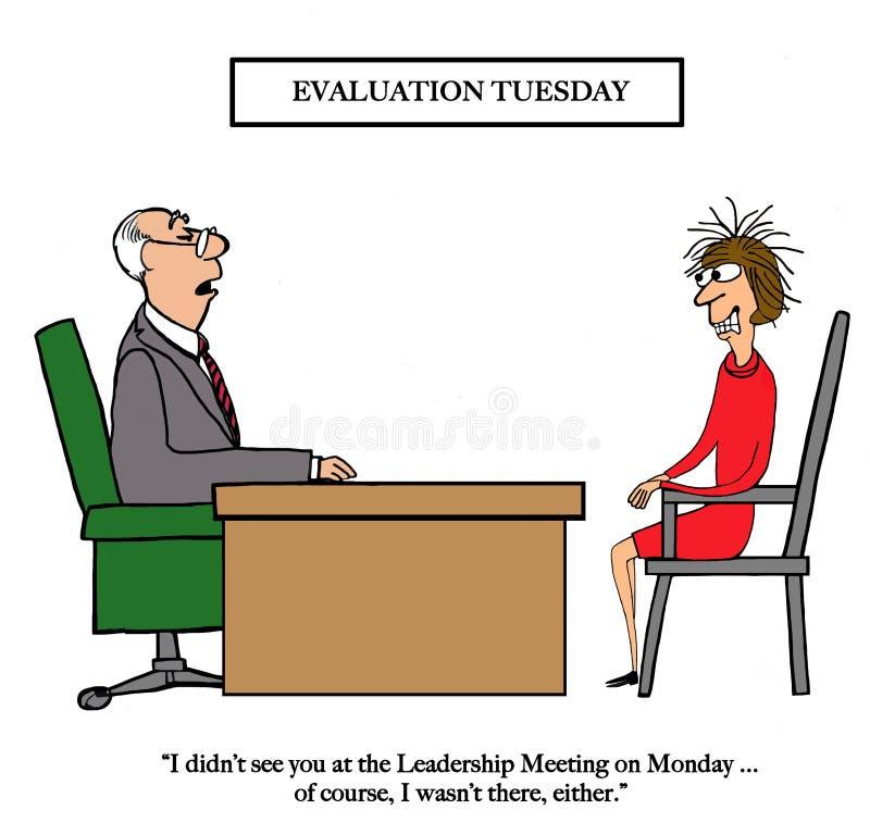Chef war nicht bei der Führungssitzung lizenzfreie abbildung