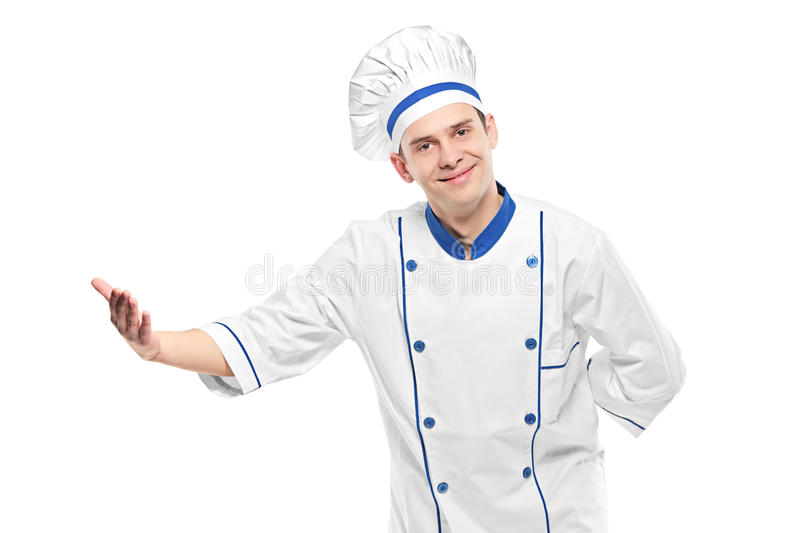 Download A chef welcoming stock photo. Image of isolated, gesturing - 13458682
