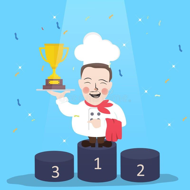 Chef winner get trophy career top achievement vector illustration
