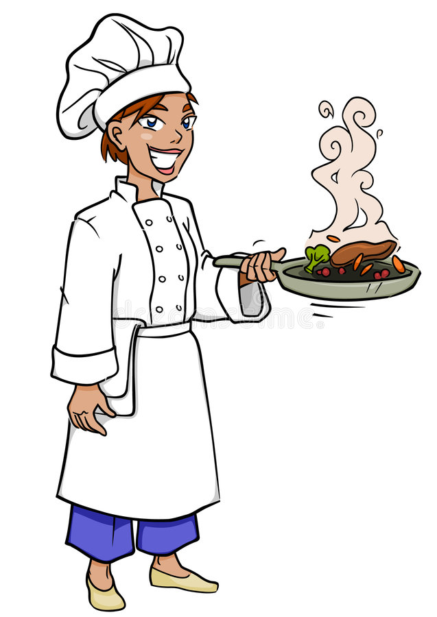 Chef Woman. Smiling woman chef frying and tossing food with a frying pan vector illustration