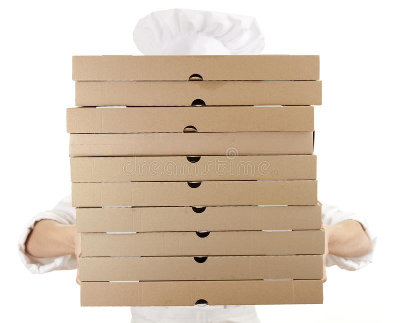 Download Chef Woman With Boxes Of Pizza Stock Image - Image of jacket, fresh: 24238999