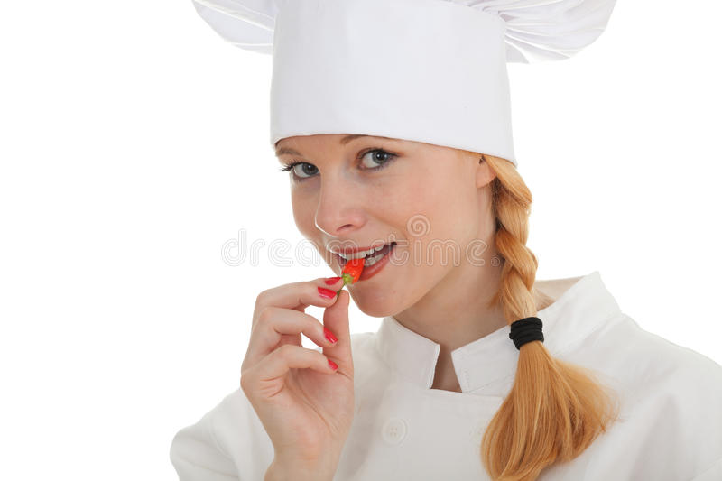 Chef Woman With Chilli, Pepperoni Royalty Free Stock Images