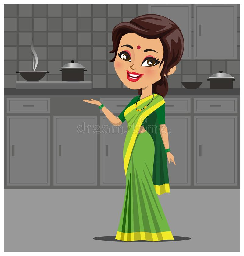 Indian woman in kitchen making food wearing a traditional saree outfit - Vector royalty free illustration