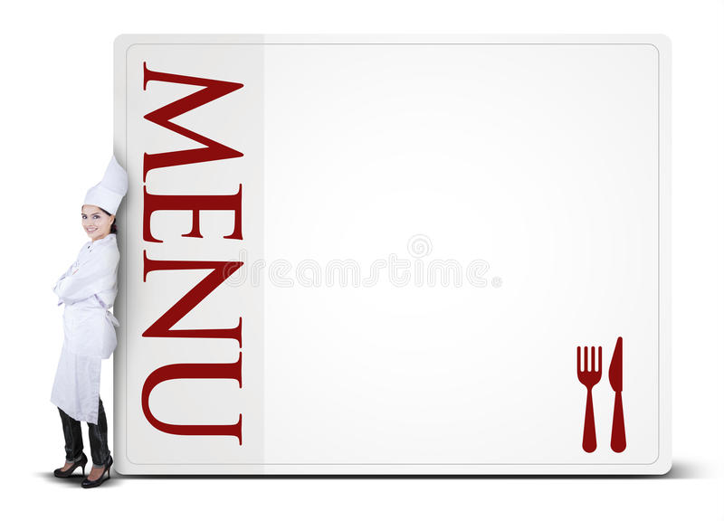 Chef Woman Leaning on The Menu Board stock photography