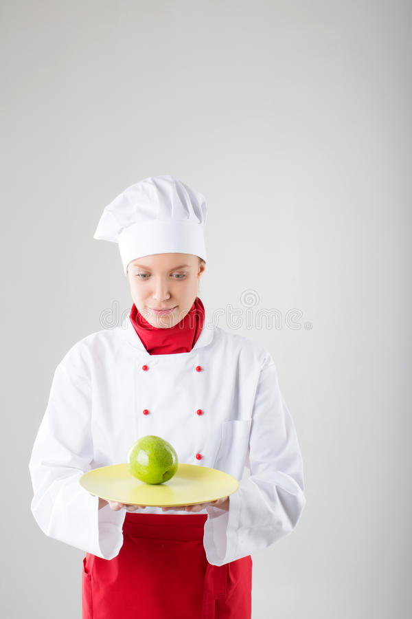Chef woman. . Chef woman. over white background stock photos