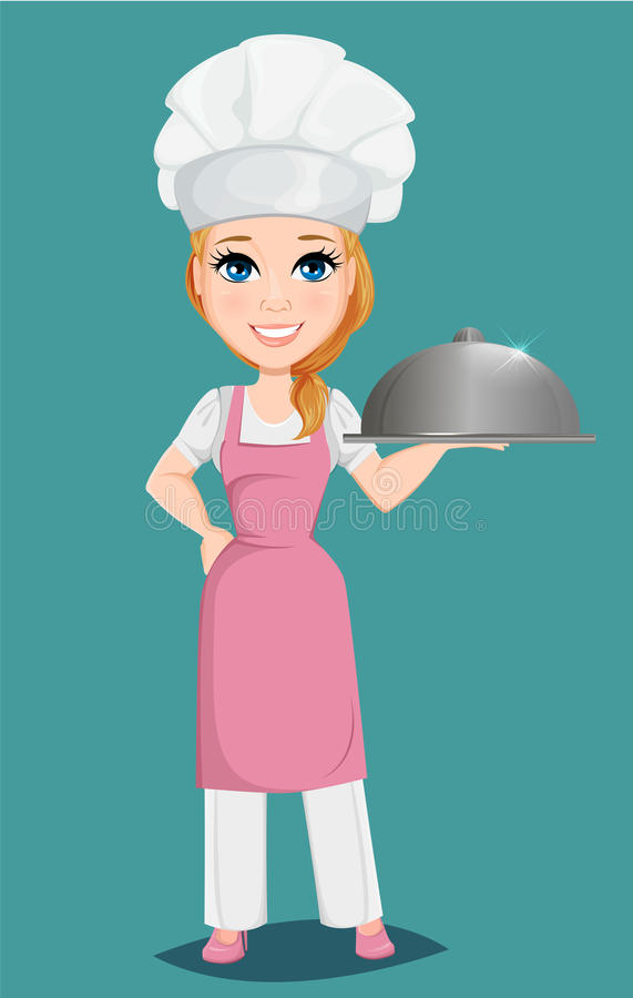 Chef woman in pink apron and cook hat holding restaurant cloche. stock illustration