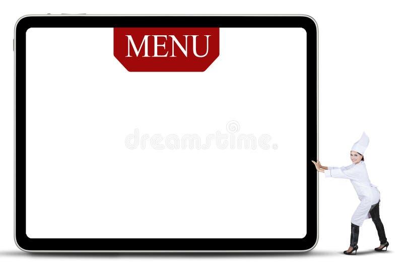 Chef Woman Pushing The Menu Board stock illustration