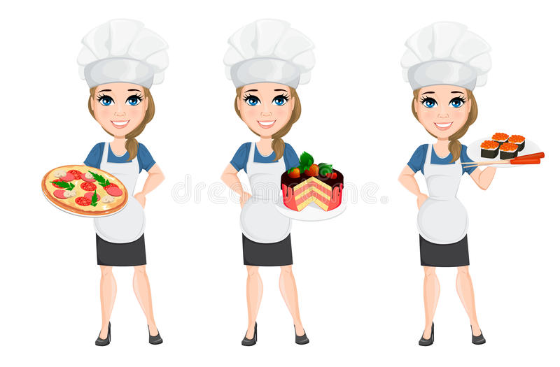 Chef woman set. Cute cartoon character cook with pizza, cake and sushi. Vector illustration. EPS10 royalty free illustration