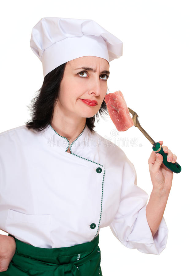 Chef Woman Smell Stale Meat Chunk Stock Image