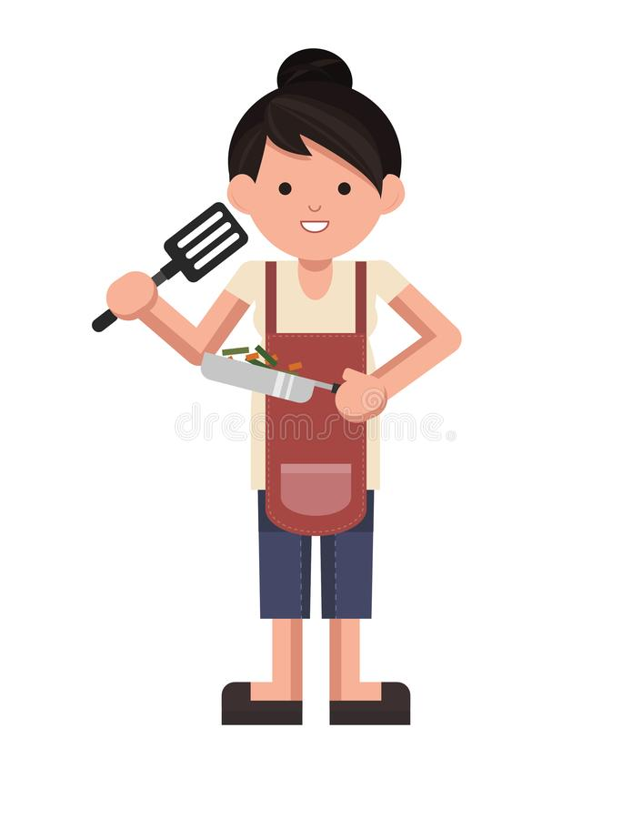 Isolated chef standing. cooking woman standing. Vector. Chef woman standing holding a pan with cute smile. cooking woman standing. Vector. Cute vector. girl vector illustration