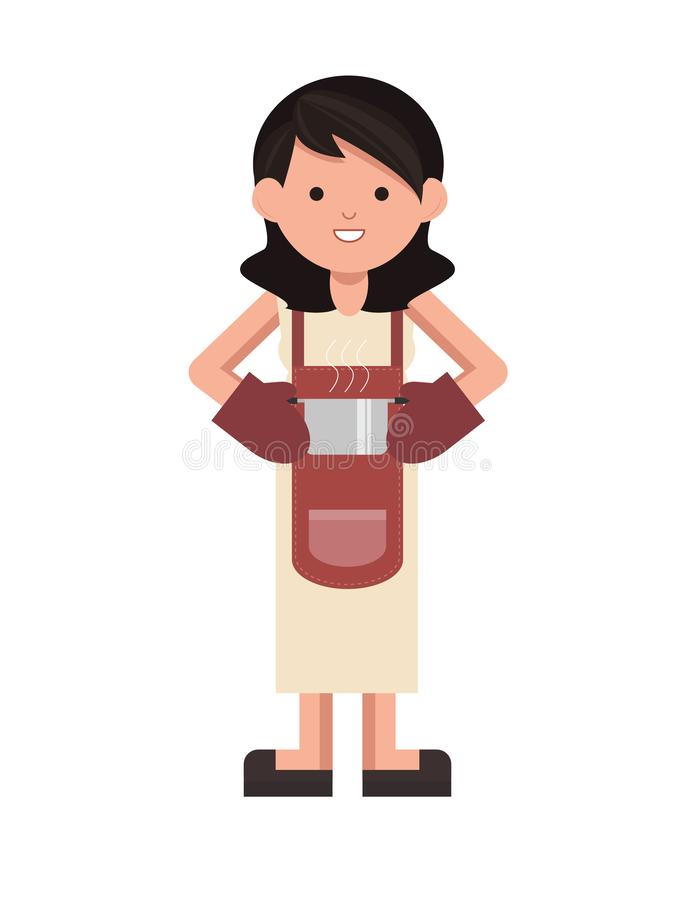 Isolated chef standing. cooking woman standing. Vector. Chef woman standing holding a pot with cute smile. cooking woman standing. Vector. Cute vector royalty free illustration