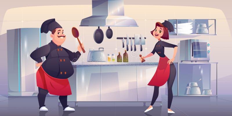 Chef y chef sous en la cocina Personal de restaurante ilustración del vector