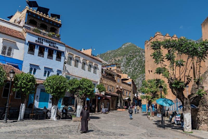 Chefchaouen den blåa staden av Marocko arkivbilder