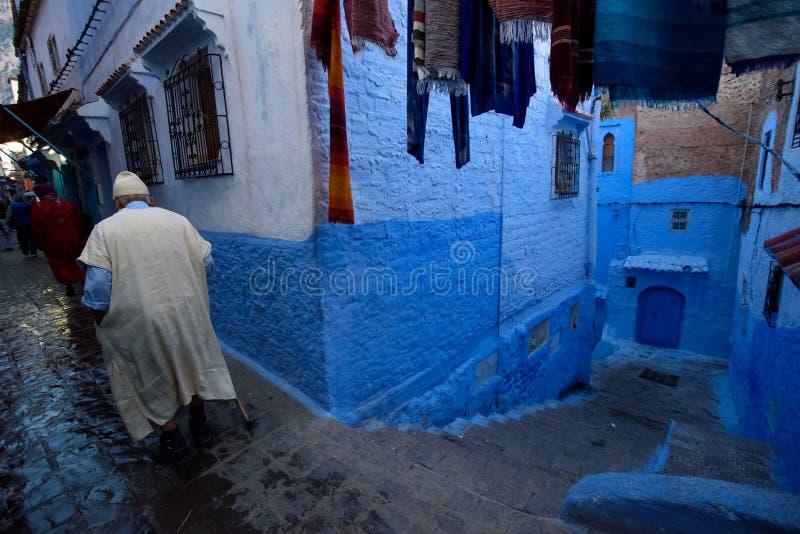 Chefchaouen den blåa staden i Marocko arkivfoton