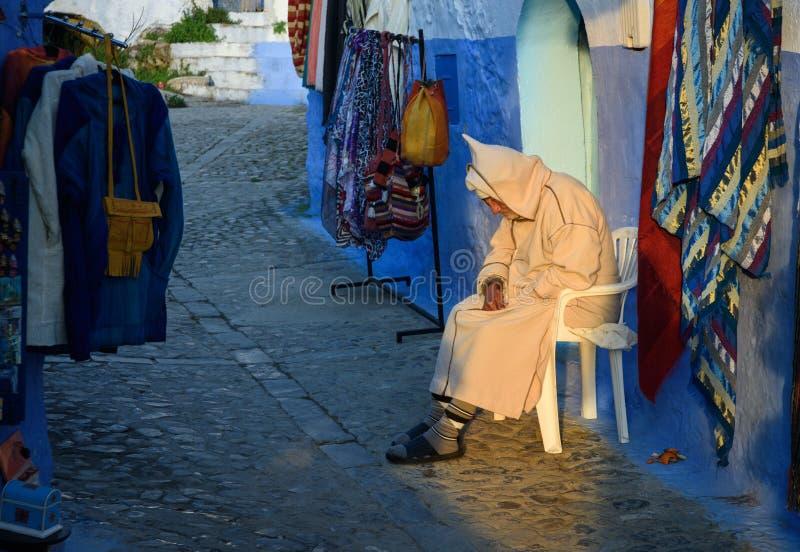 Chefchaouen den blåa staden i Marocko royaltyfria foton