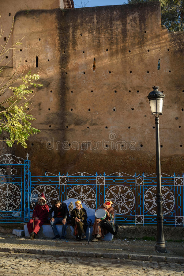Chefchaouen den blåa staden i Marocko royaltyfri fotografi