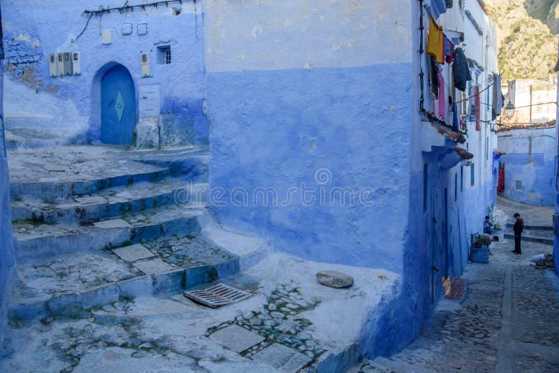 Chefchaouen, la ciudad azul en el Marruecos foto de archivo