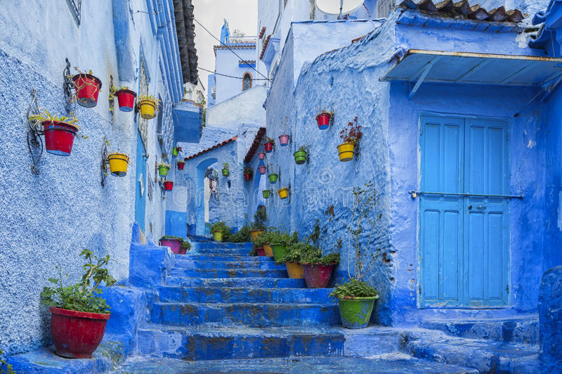 The beautiful blue medina of Chefchaouen, the pearl of Morocco stock photo
