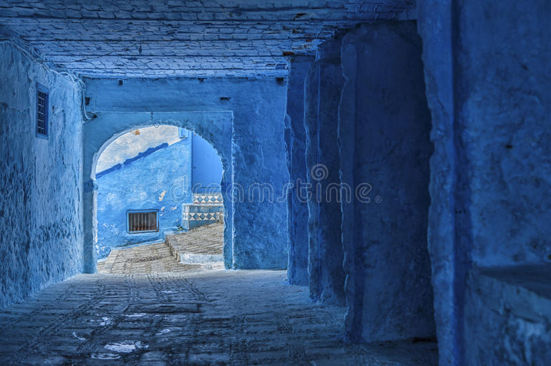 The beautiful blue medina of Chefchaouen, the pearl of Morocco stock images