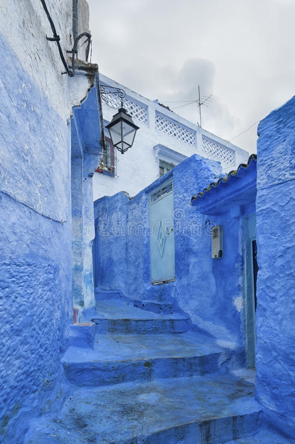 The beautiful blue medina of Chefchaouen, the pearl of Morocco stock photos