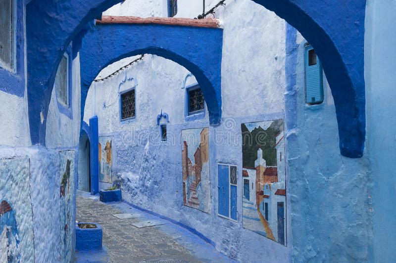 The beautiful blue medina of Chefchaouen, the pearl of Morocco - North Africa royalty free stock photography