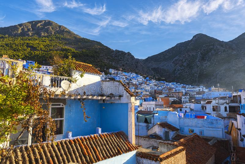 Chefchaouen Morocco sunset view from above on the roof tops stock photo
