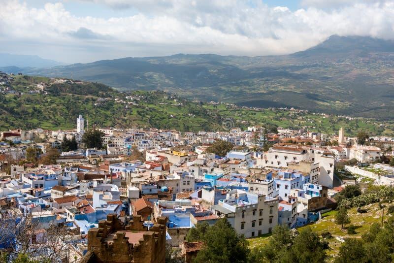 Chefchaouen Morocco Vista panoramica aerea immagine stock libera da diritti