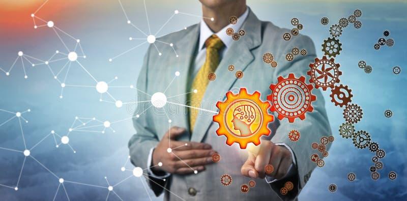 ChefConnecting AI kugghjul med internet arkivfoto