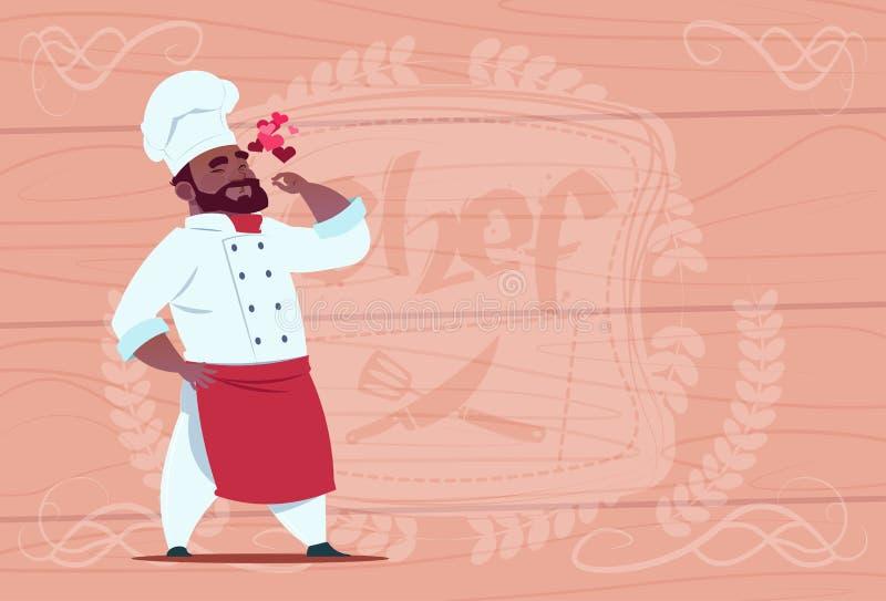 Chefe afro-americano do restaurante de Happy Smiling Cartoon do cozinheiro do cozinheiro chefe no uniforme branco sobre o fundo T ilustração do vetor