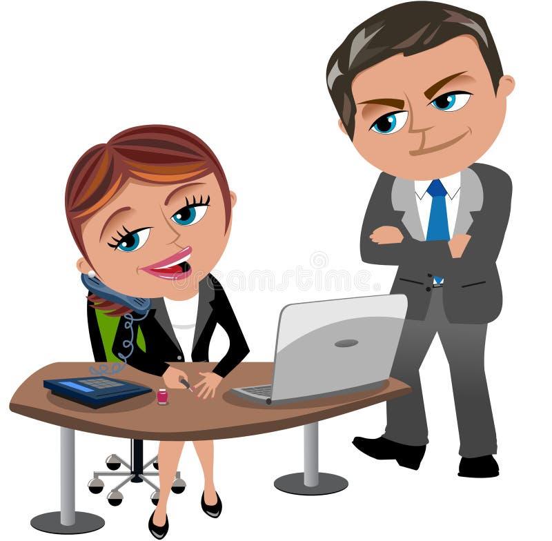 Chefe Caughts Employee que não trabalha ilustração do vetor