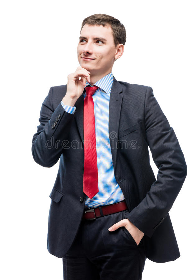 Chefe de sorriso pensativo no terno de negócio no branco fotos de stock