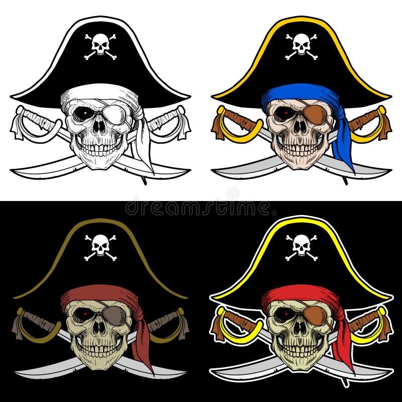 Chefe do crânio de um pirata com um chapéu grande e uma espada cruzada ilustração stock