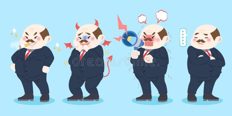 Chefe do mau dos desenhos animados ilustração stock