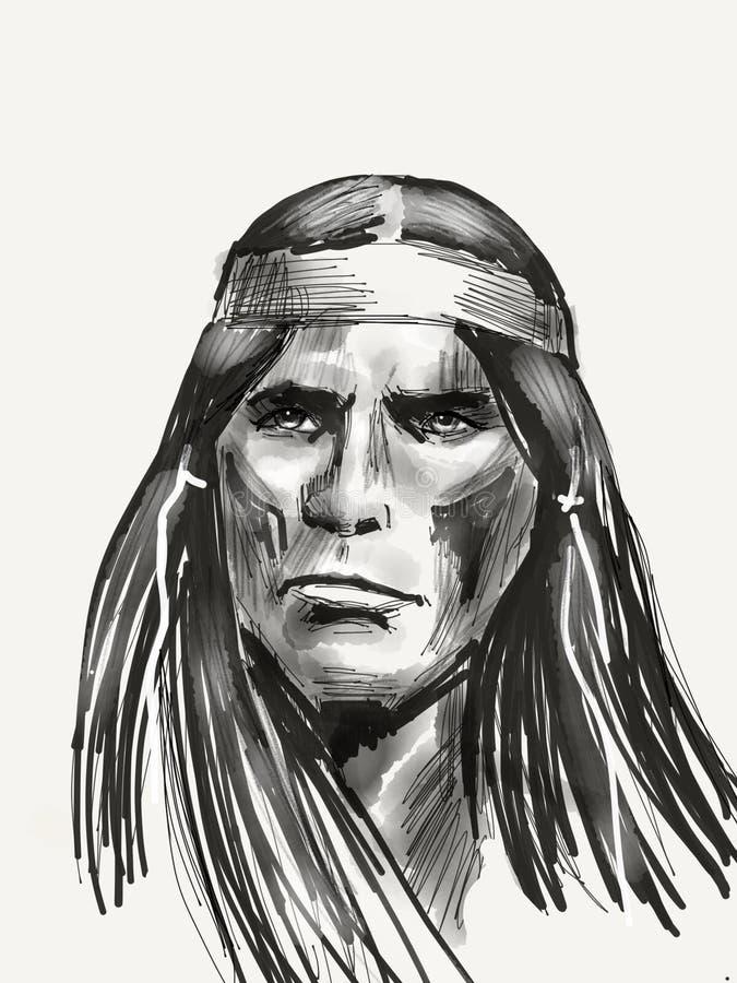Chefe do nativo americano ilustração do vetor