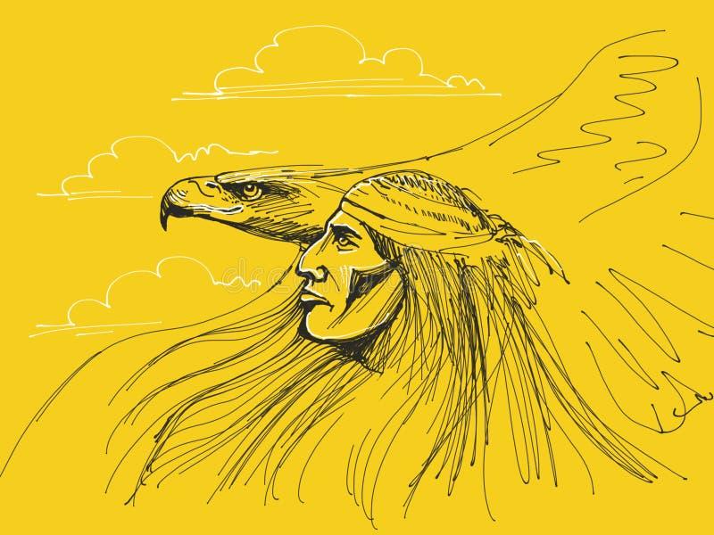 Chefe do nativo americano ilustração stock