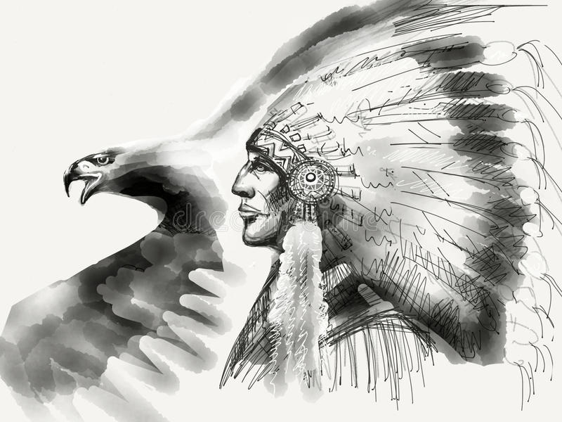 Chefe do nativo americano preto e branco ilustração stock