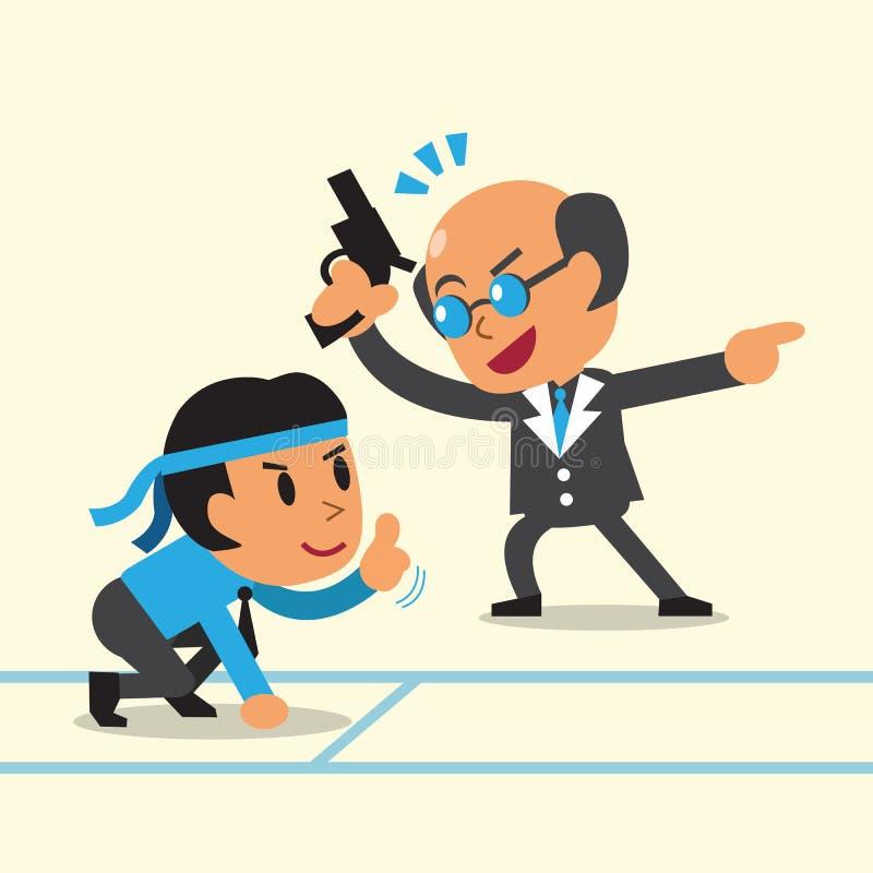 Chefe do negócio do conceito do negócio que treina o homem de negócios para correr ilustração do vetor
