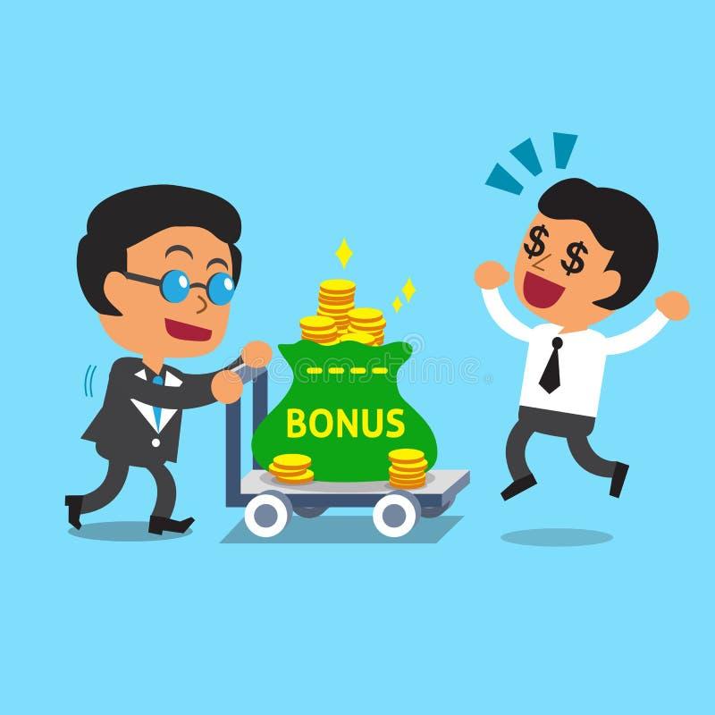 Chefe do negócio dos desenhos animados que empurra o trole do dinheiro do bônus para o homem de negócios ilustração stock