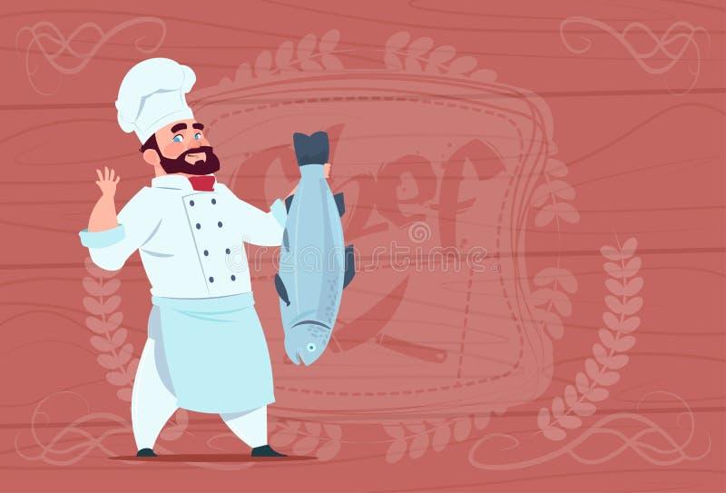 Chefe do restaurante dos desenhos animados de Hold Fish Smiling do cozinheiro do cozinheiro chefe no uniforme branco sobre o fund ilustração stock