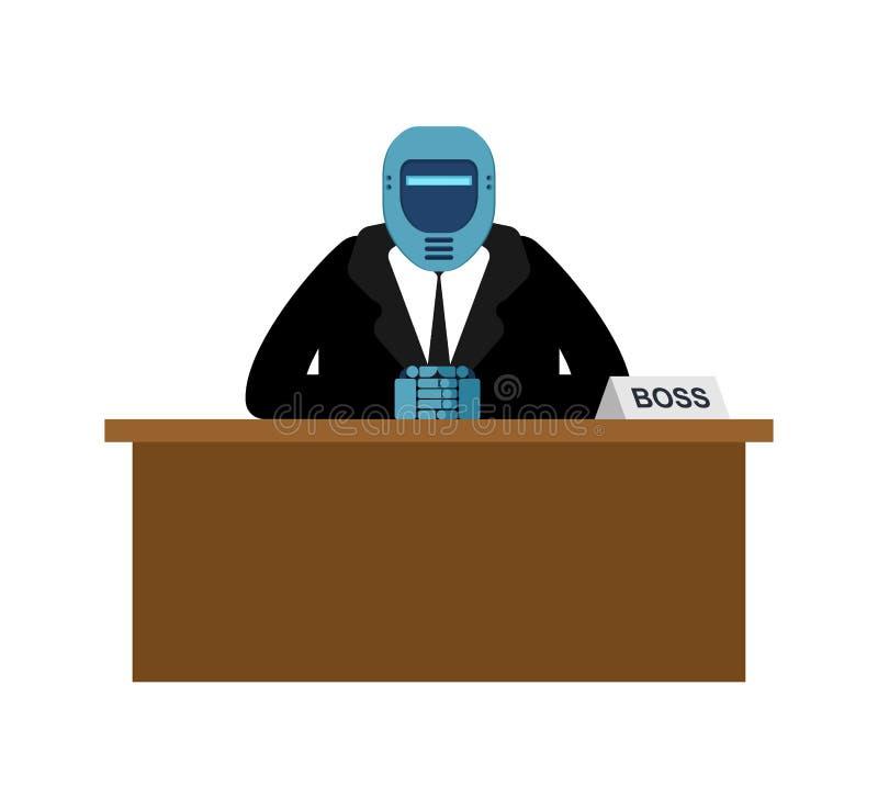 Chefe do robô Cyborg do homem de negócios Homem de negócio na mesa Vector o mal ilustração royalty free