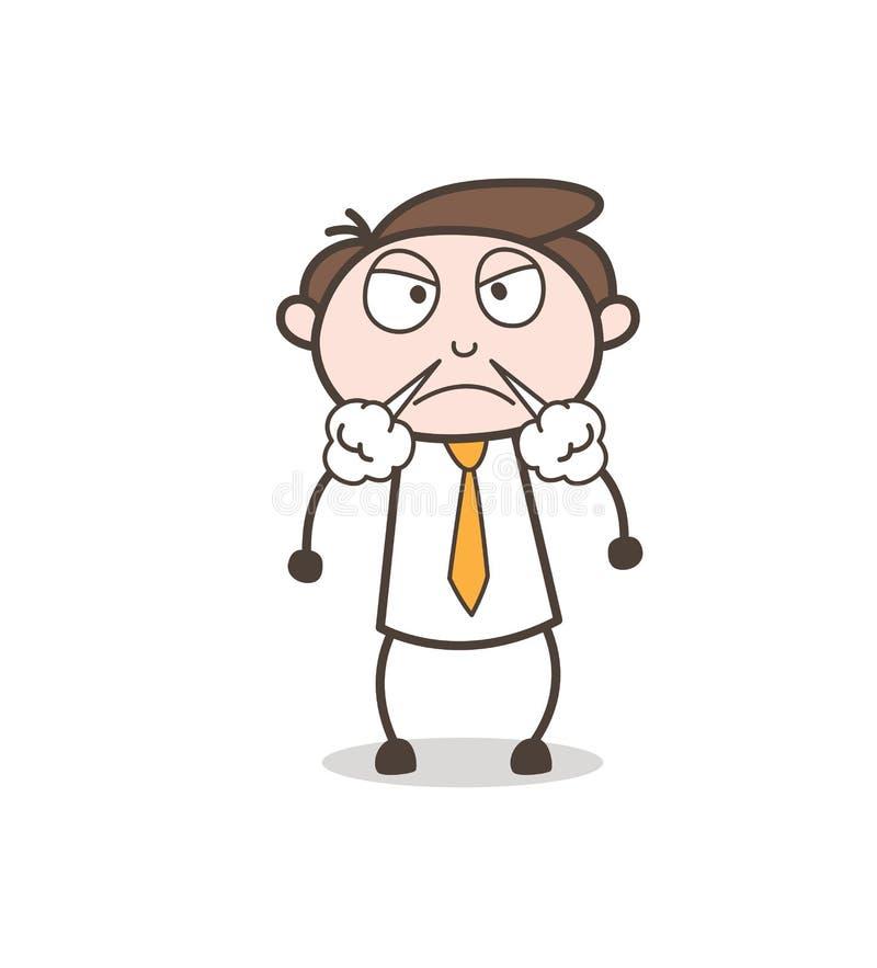 Chefe dos desenhos animados no conceito muito agressivo do vetor do humor ilustração stock