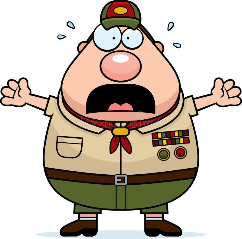 Chefe dos escoteiros assustado dos desenhos animados ilustração do vetor