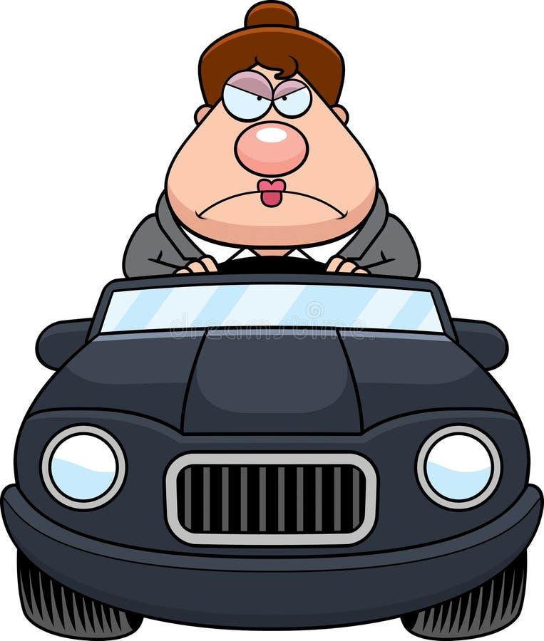 Chefe Driving Angry dos desenhos animados ilustração stock